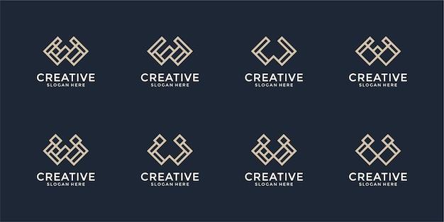 Ensemble de modèle de conception de logo monogramme créatif lettre w