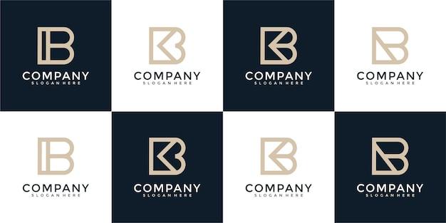 Ensemble de modèle de conception de logo monogramme lettre b