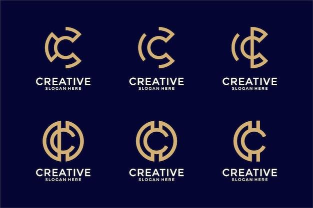 Ensemble de modèle de conception de logo monogramme lettre c de collection