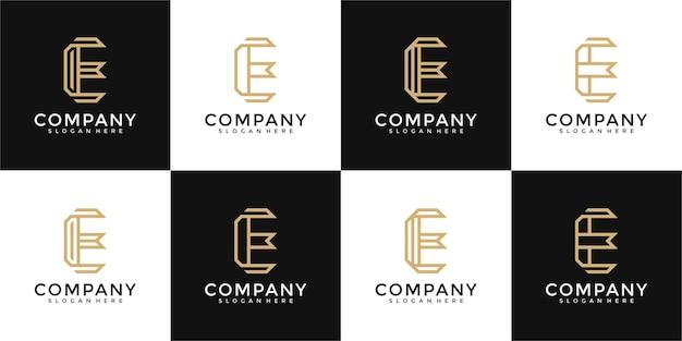 Ensemble de modèle de conception de logo monogramme lettre e collection