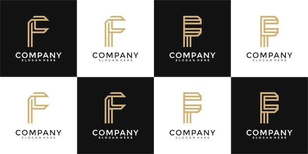 Ensemble de modèle de conception de logo monogramme lettre f