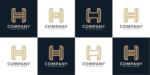 Ensemble de modèle de conception de logo monogramme lettre h