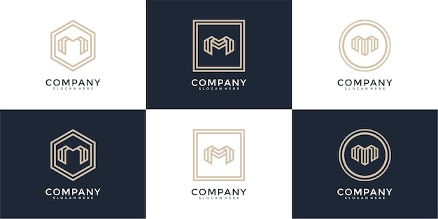 Ensemble de modèle de conception de logo monogramme lettre m