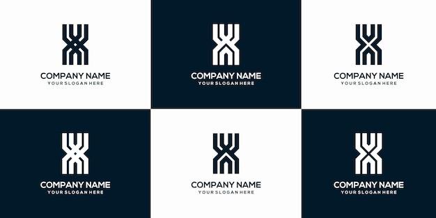 Ensemble de modèle de conception de logo monogramme lettre x abstraite créative