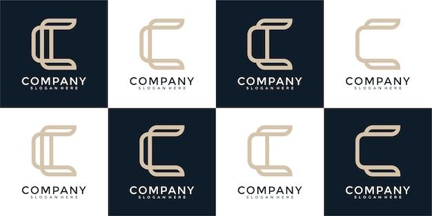 Ensemble de modèle de conception de logo monogramme lettre c