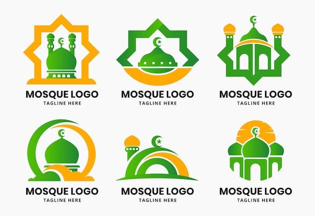Ensemble de modèle de conception de logo mosquée islamique
