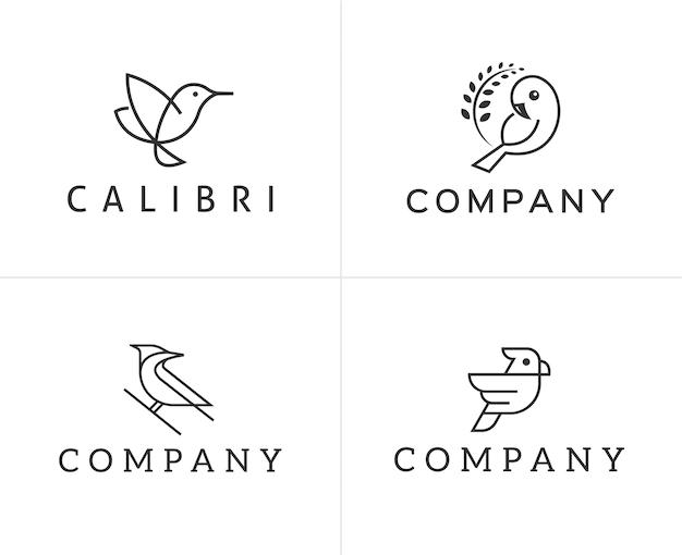 Ensemble de modèle de conception de logo oiseaux