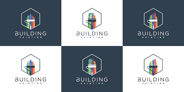 Ensemble de modèle de conception de logo de peinture de bâtiment créatif avec style de couleur arc-en-ciel, vecteur premium