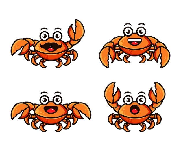 Ensemble de modèle de conception de logo de personnage de crabe