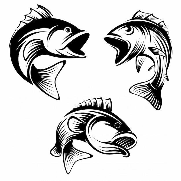 Ensemble de modèle de conception de logo de poisson