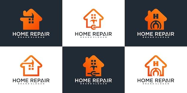 Ensemble de modèle de conception de logo de réparation à domicile créatif vecteur premium