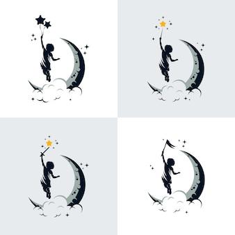 Ensemble de modèle de conception de logo de rêve pour enfants