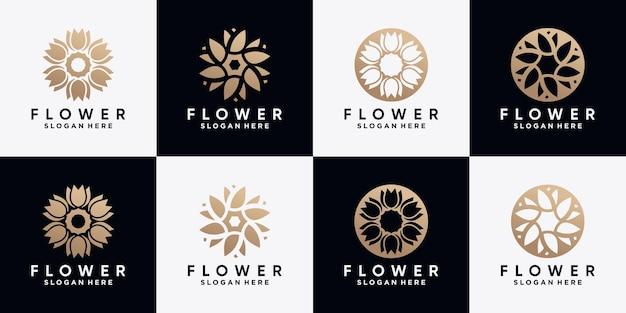 Ensemble de modèle de conception de logo rose fleur abstraite avec concept créatif