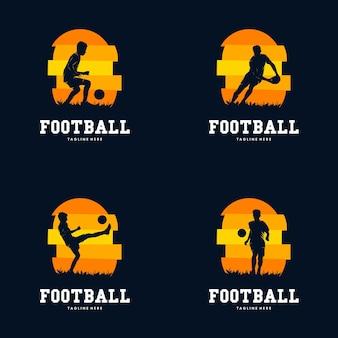 Ensemble de modèle de conception de logo de sport de football