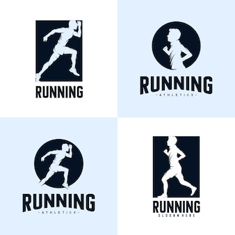 Ensemble de modèle de conception de logo sprint running athletics marathon