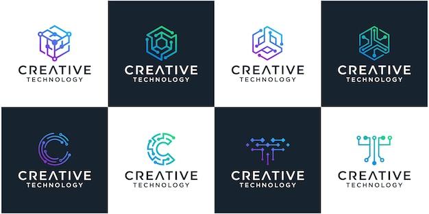 Ensemble de modèle de conception de logo de technologie réseau