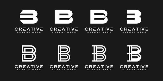 Ensemble de modèle de conception de logo vectoriel abstrait lettre b initiale. icône de concept typographique créatif