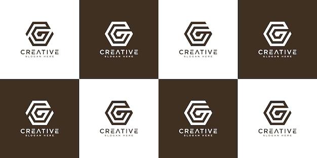 Ensemble de modèle de conception de logo vectoriel abstrait lettre g initiale. icône de concept typographique créatif