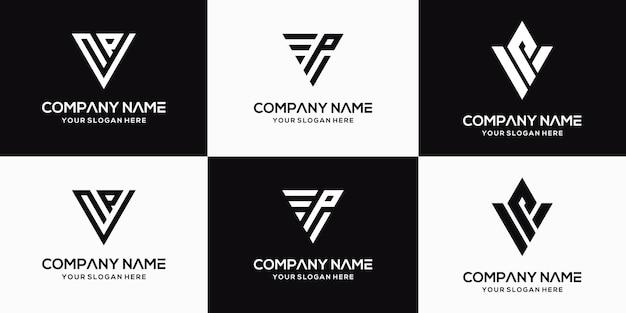Ensemble de modèle de conception de logo vp lettre créative