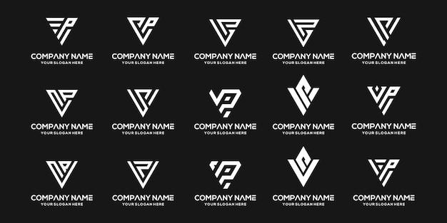 Ensemble de modèle de conception de logo vp lettre monogramme abstrait créatif