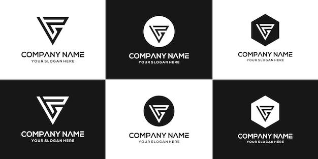 Ensemble De Modèle De Conception De Logo Vp Lettre Monogramme Abstrait Créatif Vecteur Premium