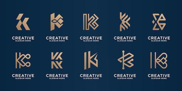 Ensemble de modèle de conception or monogramme k pour entreprise, élégant, ligne, logo de forme.