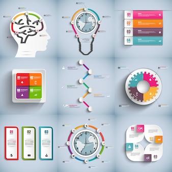 Ensemble de modèle de conception de vecteur infographie. peut être utilisé pour les processus de flux de travail, bannière, di