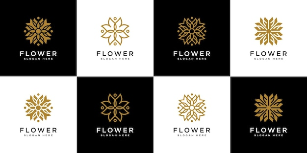 Ensemble de modèle de conception de vecteur de logo de fleur