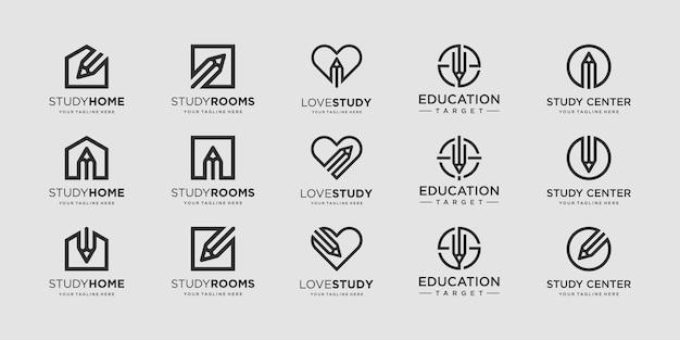 Ensemble de modèle de conceptions de logo de crayon.