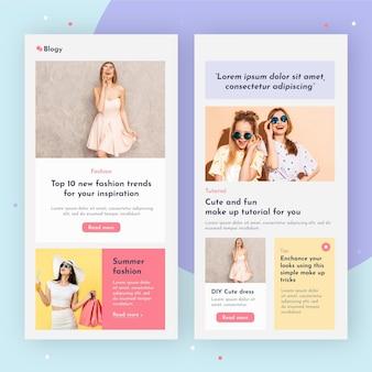 Ensemble de modèle de courrier électronique blogger avec photos