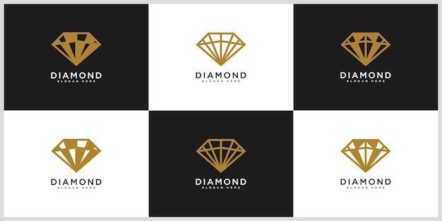 Ensemble de modèle de dessins vectoriels logo diamant