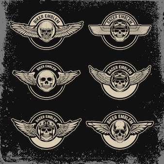 Ensemble de modèle d'emblèmes avec ailes et crâne. pour logo, étiquette, insigne, signe. image