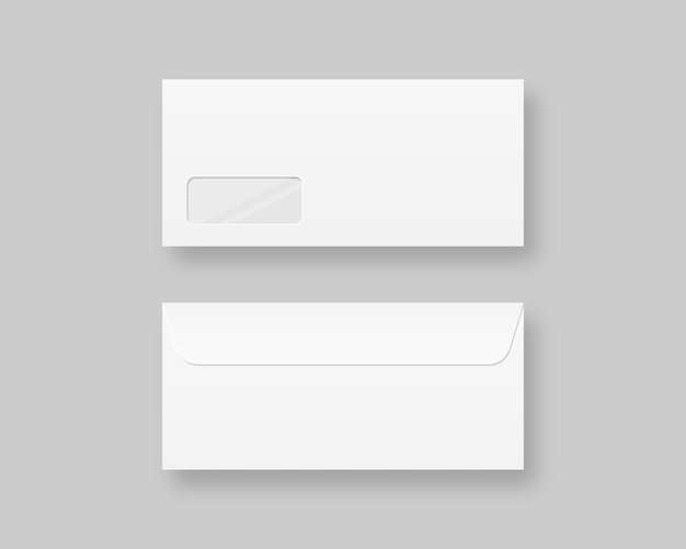 Ensemble de modèle d'enveloppes réalistes vierges. enveloppe fermée réaliste réaliste vue avant et arrière. illustration réaliste.