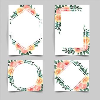 Ensemble de modèle de fleur aquarelle pour invitation de mariage