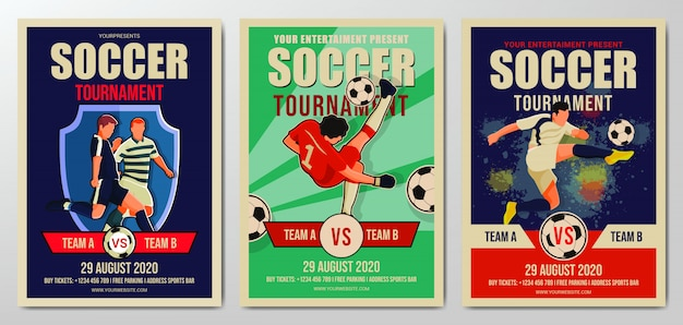 Ensemble de modèle de flyer de tournoi de football ou de football