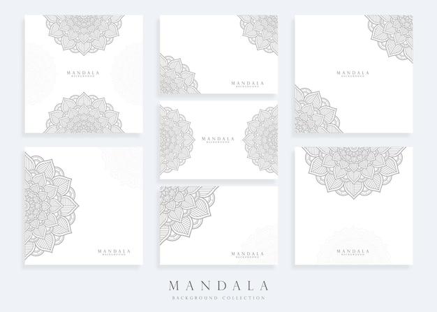 Ensemble de modèle de fond de mandala et modèle de carte de mandala