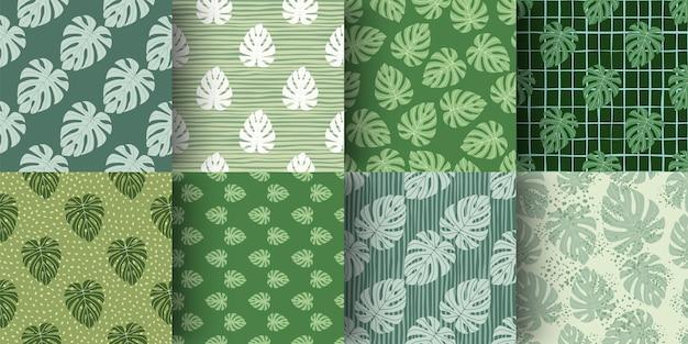 Ensemble de modèle de griffonnage sans couture de formes simples de feuilles de monstera