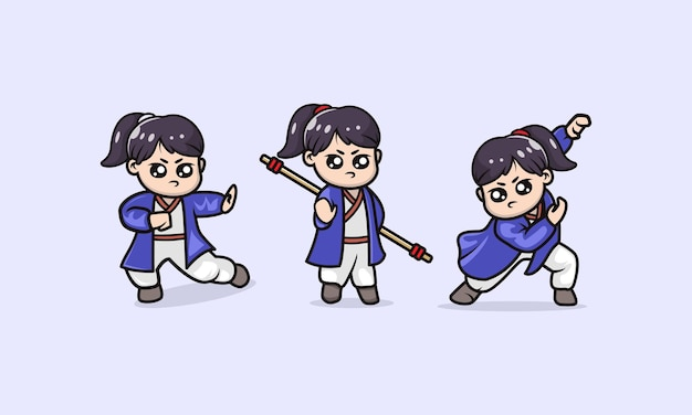 Ensemble de modèle d'illustration de conception de mascotte fille kung fu mignon