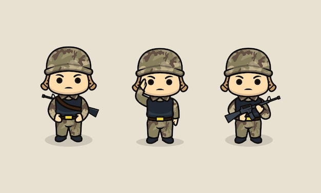 Ensemble de modèle d'illustration de conception de mascotte de soldat de l'armée mignonne