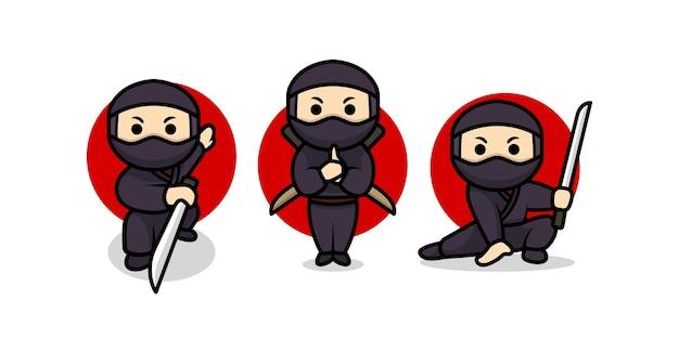 Ensemble de modèle d'illustration de conception de personnage ninja mignon