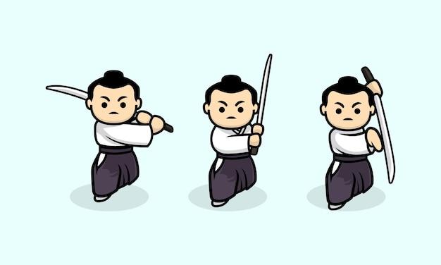 Ensemble de modèle d'illustration de conception de personnage de samouraï mignon