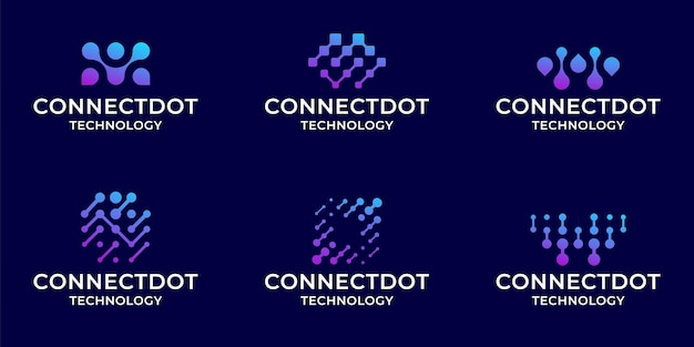 Ensemble de modèle d'inspiration de collection logo technologie numérique bundle