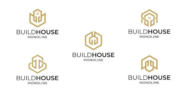 Ensemble de modèle d'inspirations de collection de conception de logo maison créative