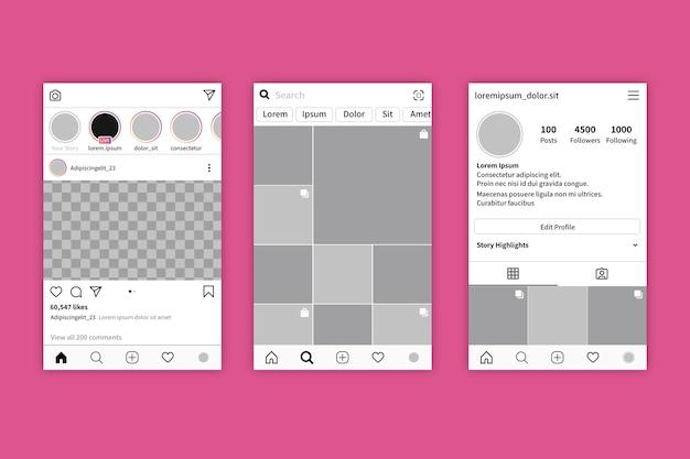Ensemble de modèle d'interface pour le profil instagram