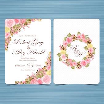 Ensemble de modèle d'invitation floral aquarelle élégant avec de belles fleurs