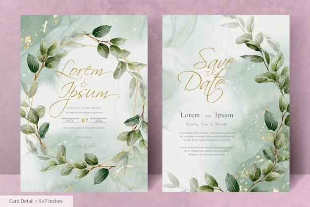 Ensemble de modèle d'invitation de mariage élégant cadre floral avec verdure floral dessiné à la main