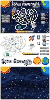 Ensemble de modèle de jeu avec fond de galaxie