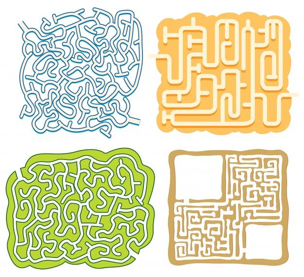 Un ensemble de modèle de jeu de puzzle de labyrinthe