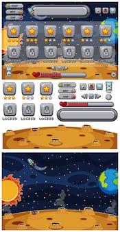 Ensemble de modèle de jeu avec la terre et le soleil