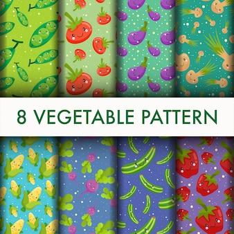 Ensemble de modèle de légumes sans soudure.